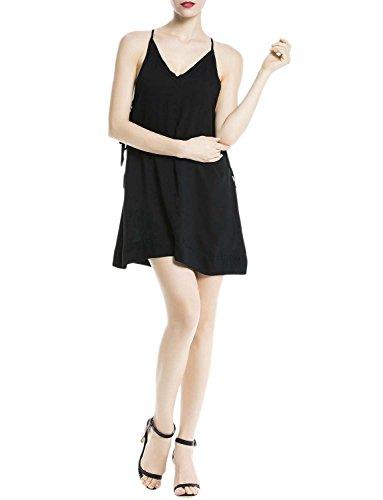 iB-iP Mujer Lado Inferior De La Correa De Espagueti A Mini Vestido De Una Línea Negro