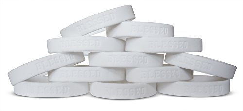 Novel Merk Blessed White 12-Piece Silicone Rubber Band Wristband Motivation & Religious Accessory