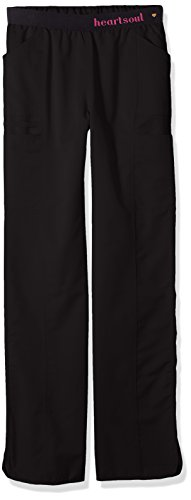 HeartSoul Scrubs Women's Head Over Heels So In Love Low Rise Pull-On Pant, Black, Large - Logos Love