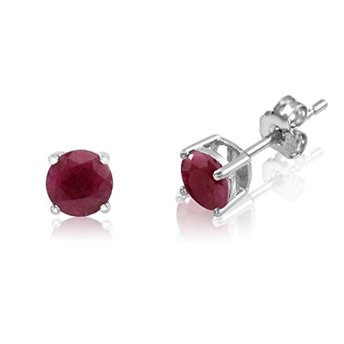 Genuine 4mm Brilliant Round Cut Red Ruby Rhodium Plated Sterling Silver Basket Setting Stud Earrings Faceted Ruby Earrings
