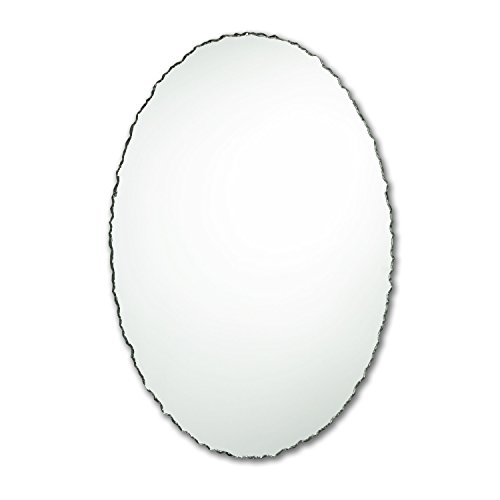 The Better Bevel Small Frameless Oval Wall Mirror | Chiseled Edge | Bathroom, Vanity, Bedroom Mirror (22-in x 28-in)