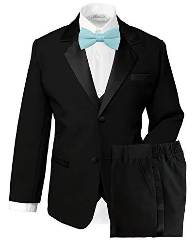 Spring Notion Boys' Classic Fit Tuxedo Set, No Tail Black-Aqua 9M