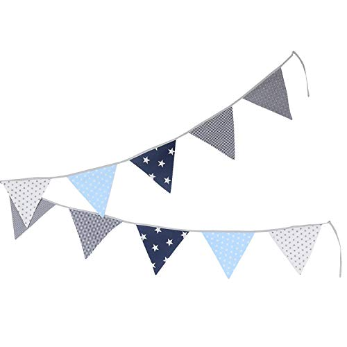 100% Cotton Fabric Bunting Flag Garland Pennant Banner by ULLENBOOM | Polka Dot/Star/Checkered | Baby Shower/Party/Nursery | 11 Ft - Unisex ()