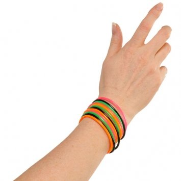 1980s Accessories (Awesone 80's Party Assorted Color Classic Jelly Bracelet Accessory, Rubber, Standard Size, Pack of 12)