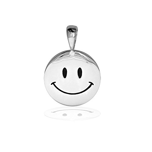 Face Sterling Silver Charm - Small Happy, Smiley Face Charm with Black in Sterling Silver