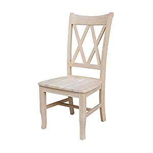 International Concepts Double X Back Chairs, Unfinished, Set of 2