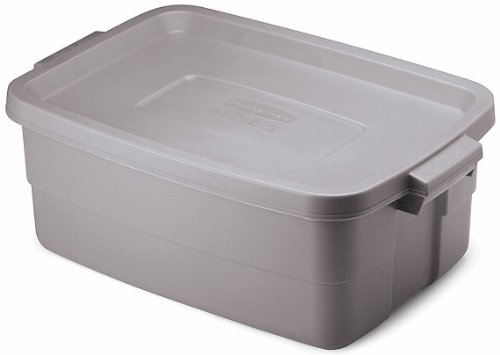 Rubbermaid FG2214TPSTEEL Roughneck Storage Tote Box, 10-Gallon, Steel, 8 Pack by Rubbermaid