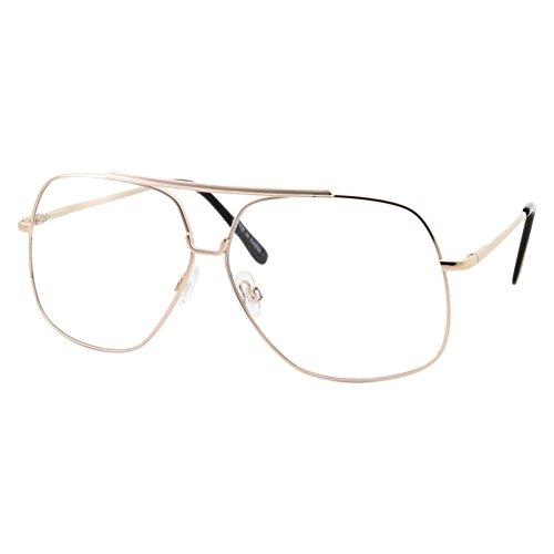XL Mens Aviator Clear Lens Eye Glasses Square Fashion Oversized 62mm, - Glasses Aviator Eye