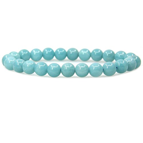 Amazonite Bracelet - Natural Blue Amazonite Gemstone 8mm Round Beads Stretch Bracelet 7