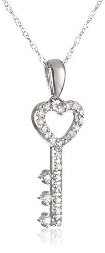 Gold Heart Key Pendant (10k White Gold Diamond Key Pendant (1/10 cttw, I-J Color, I2-I3 Clarity))