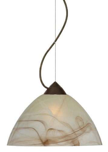 Besa Lighting 1KX-420183-LED-BR 1X6W GU24 Tessa LED Pendant with Mocha Glass, Bronze Finish
