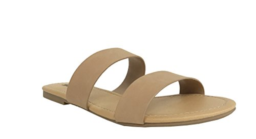 (Soda Women's Browse Dual Straps Slip On Sandals Natural Nubuck Leatherette 6)