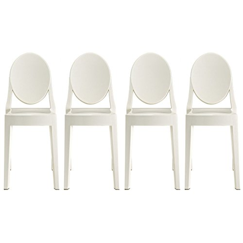 2xhome - Set of Four (4) - Victoria Style Ghost Side Chai...
