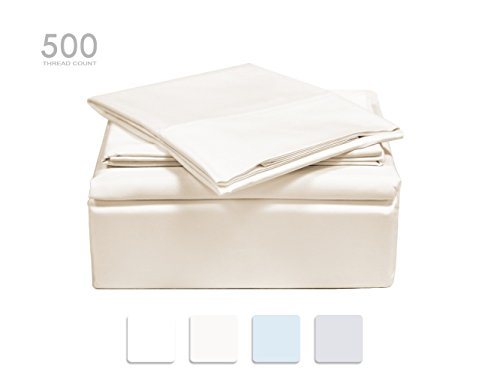TRANQUIL NIGHTS 500 Thread Count 100% Premium Cotton Sheet Set- Ivory Queen, 4-Piece set, Long Staple Combed Cotton, Sateen Weave, Classic Z Hem, Ultra Soft&Shine, Fits Mattress Upto 17″ Deep Pocket