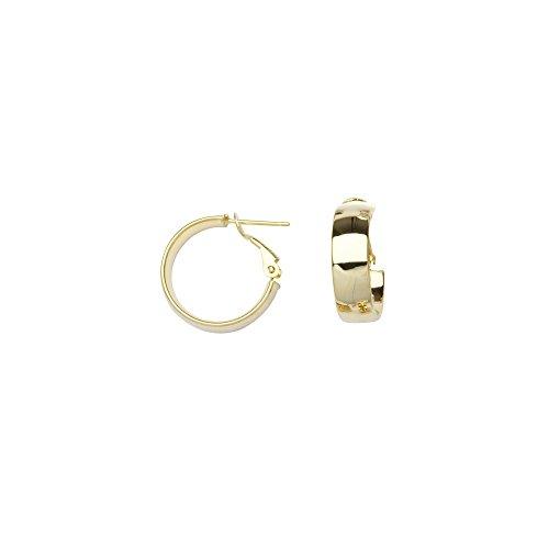 14k Yellow Gold 6x15 Plain Hoop Earrings Omega Clip by JewelryWeb