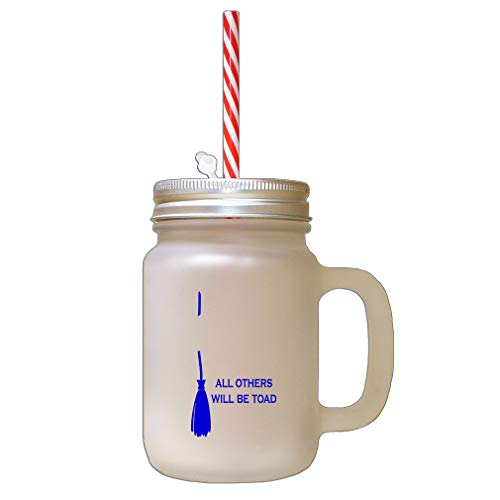 Royal Blue Broom Others Will Be Toad Halloween Witch Frosted Glass Mason Jar With -