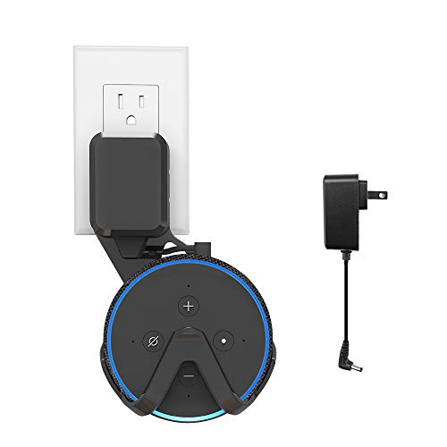BonFook Outlet Wall Mount Hanger Holder for All-New Echo Dot (3rd Gen) Smart Home Voice Assistants,Space-Saving Accessories with Original Adapter and Cable Included (Black)
