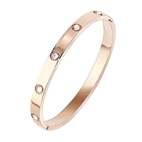 Stainless Steel Jewelry Bangle Bracelet 18K Rose Gold Plated CZ Diamonds Love Bracelet for Women Girls (Rose Gold Full -