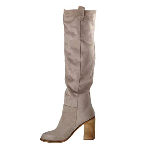 (onlymaker Womens Wide Calf Over The Knee Boots Suede Leather Distressed Ruched Stacked Heel Slouchy Chunky Heel Thigh High Boots Grey US6)