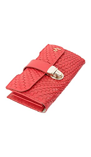 Velez Genuine Real Full Grain Women's Red Leather Long Trifold Accordion Slim Wallet Money Organizer Checkbook Large Capacity Billeteras de Mujer