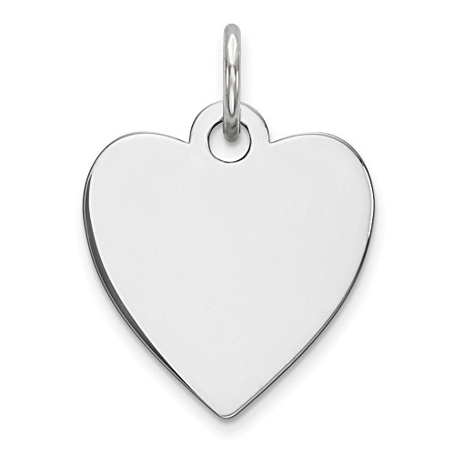 Sterling Silver Engraveable Heart Polished Front Disc Charm Pendant 18mm