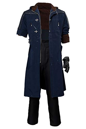 Hibuyer Men's DMC 5 Nero Cosplay Costume Adult Casual Hooded Trench Coat Outfit (Large, Style (Devil May Cry 2 Dante Costume)