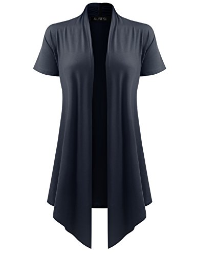 (All for You Women's Soft Drape Cardigan Short Sleeve Navy Small)