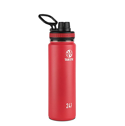 Takeya Originals Vacuum-Insulated Stainless-Steel Water Bottle, 24oz, Red