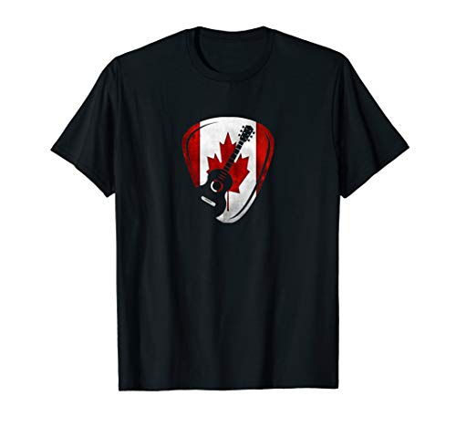 Canadian Acoustic Guitar Pick T Shirt Guitarist Music Lover