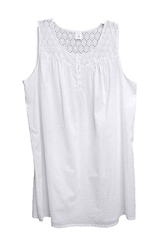 Croft & Barrow Cotton Blend Lightweight Smocked Swiss DOT Eyelet Nightgown Womens Plus~3X Bright White