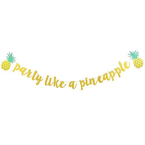 Rainlemon Glitter Gold Party Like A Pineapple Banner Summer Hawaii Luau Baby Shower Birthday Party Wedding Shower Decoration - Banner Pineapple