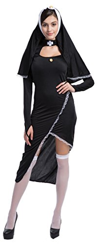 [Fedo Design Women's Lace Up Adult Naughty Bad Habit Nun Long Gown Dress Costume] (Naughty Nun Halloween Costumes)