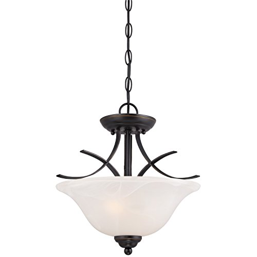 Westinghouse 6340300 Pacific Falls Two Light Indoor Convertible Pendant Semi Flush Ceiling Fixture Amber Bronze Finish With White Alabaster Glass
