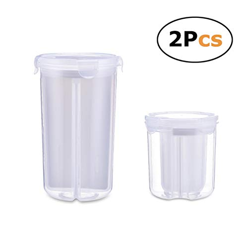 Durable Plastic Transparency Airtight Seal 4 Compartment Food Storage Containers for Cereal, Nut, Flour, Sugar etc with Locking Lids