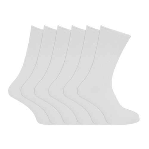 Specialist item: Mens Ribbed Non Elastic Top 100% Cotton Socks (Pack of 6) (US Shoe 6.5 - 11.5) (White)