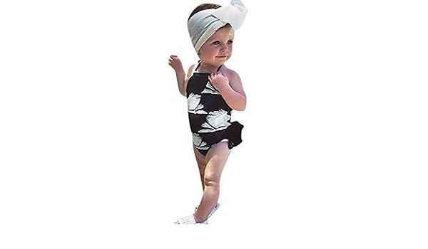 Elogoog Kids Toddler Girls Bird Swan Print One Piece Swimsuits Ruffle Bathing Suit Beachwear
