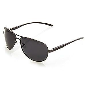 NYS Collection Merit Court Aviator Sunglasses, Black Frame/Smoke Lens