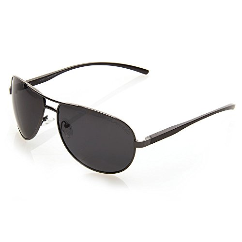 NYS Collection Merit Court Aviator Sunglasses, Black Frame/Smoke - Nys Eyewear
