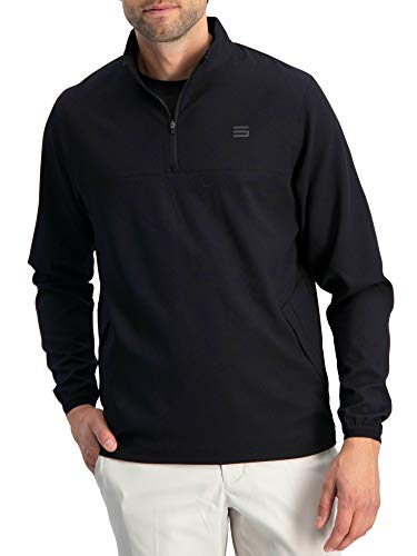 Half Zip Wind Jackets - Mens Windbreaker Jackets - Half Zip Golf Pullover Wind Jacket - Vented, Dry Fit Jet Black