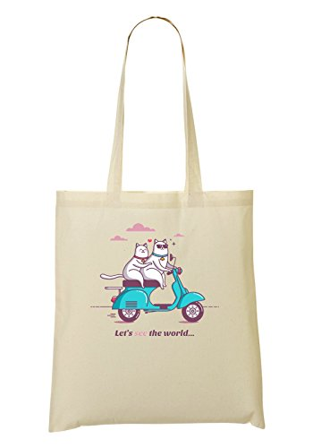 Let'S The World Cat Rider Motorcycle Series Fun Animals Bolso De Mano Bolsa De La Compra