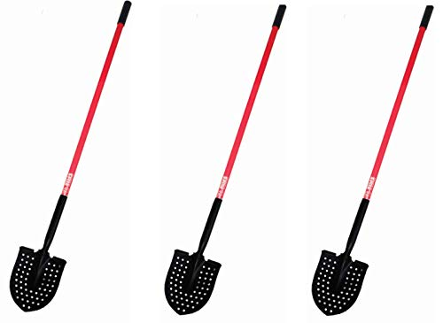 Bully Tools 92705 14-Gauge Round Point Mud Shovel with USA Pattern and Fiberglass Long Handle (Pack of 3)