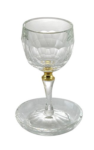 Crystal Kiddush Cup with Gold Ring and Saucer ()