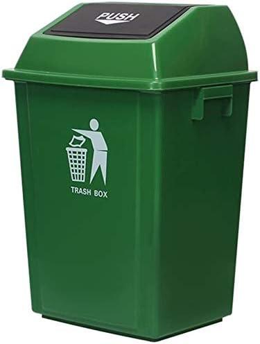 POIUY ビンプラスチックのビンをリサイクルボックス、屋外のゴミ箱フリップごみ箱屋外のごみ箱学校のゴミ箱60-100L、グレー、レッド、ブルー、グリーン (Color : Green, Size : 100L)