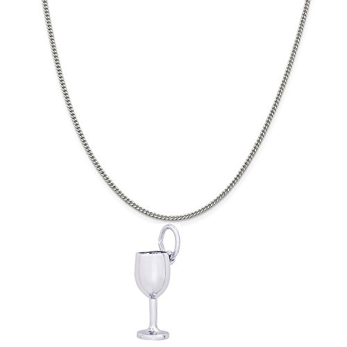 Rembrandt Charms 14K White Gold Wine Glass Charm on a 14K White Gold Curb Chain Necklace, 20