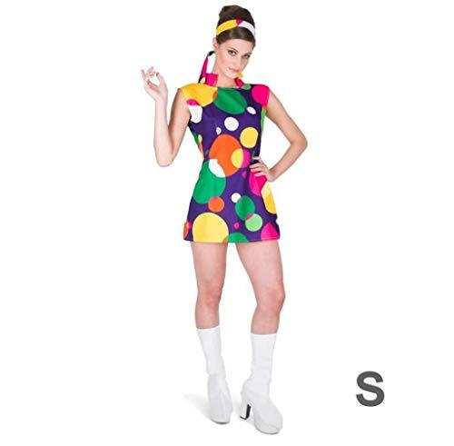Mod Hippie Dress - 60s Hippie Mod Girl Costume - Halloween Groovy Party Dress Headband, Small