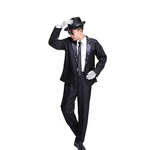 (Men's Roaring 20s Costume Black Zoot Suit Pop Star Stage Showtime Jazz Dance Fancy)
