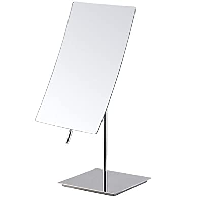 Mirko 5X Magnification Rectangle Countertop Adjustable Vanity Makeup Mirror,Polished Chrome Finish - Rectangular modern frameless design with shiny polished chrome finish Distortion free 5x magnification mirror glass meets any of your makeup needs Easily adjust mirror angle by tilting the middle handle - bathroom-mirrors, bathroom-accessories, bathroom - 31KpekK ofL. SS400  -