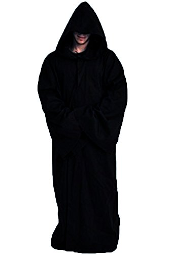 Wecos Unisex Tunic Halloween Robe Hooded Cloak Costume (Medieval Robes And Cloaks)