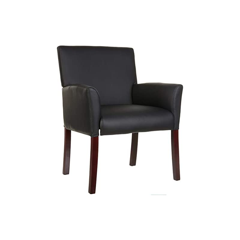AmazonBasics Classic Reception Office Chair with Mahogany Wood Finish Legs - Black