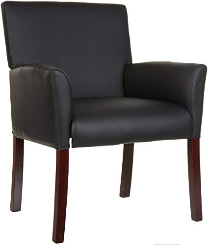 AmazonBasics Classic Club Reception Chair with Mahogany Wood Finish Legs - Black